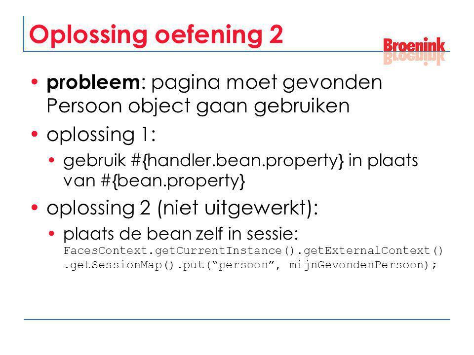 Oplossing oefening 2 probleem: pagina moet gevonden Persoon object gaan gebruiken. oplossing 1: