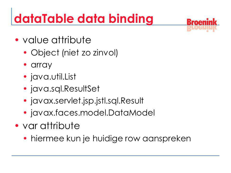 dataTable data binding