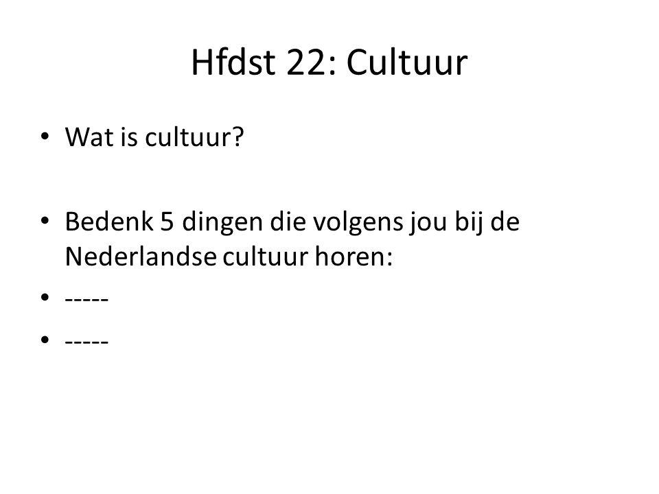 Hfdst 22: Cultuur Wat is cultuur
