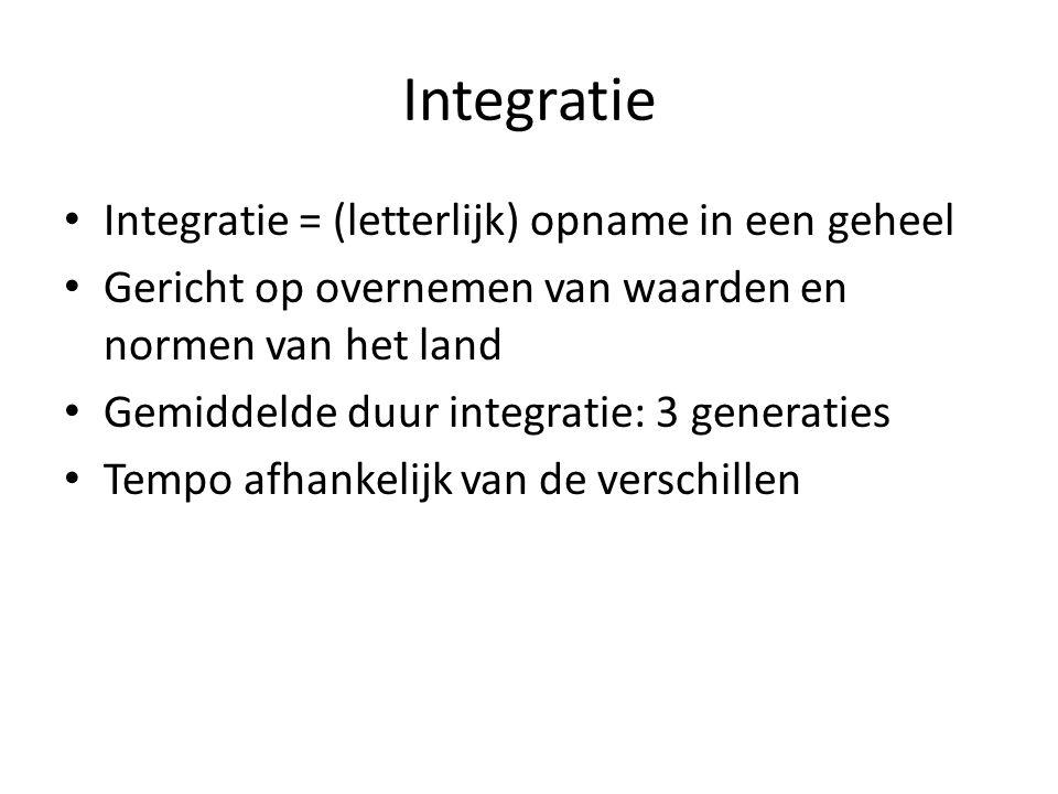 Integratie Integratie = (letterlijk) opname in een geheel