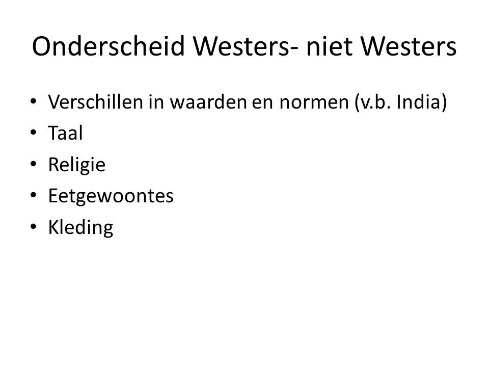 Onderscheid Westers- niet Westers