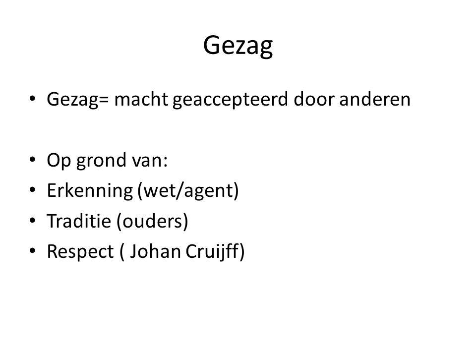 Gezag Gezag= macht geaccepteerd door anderen Op grond van: