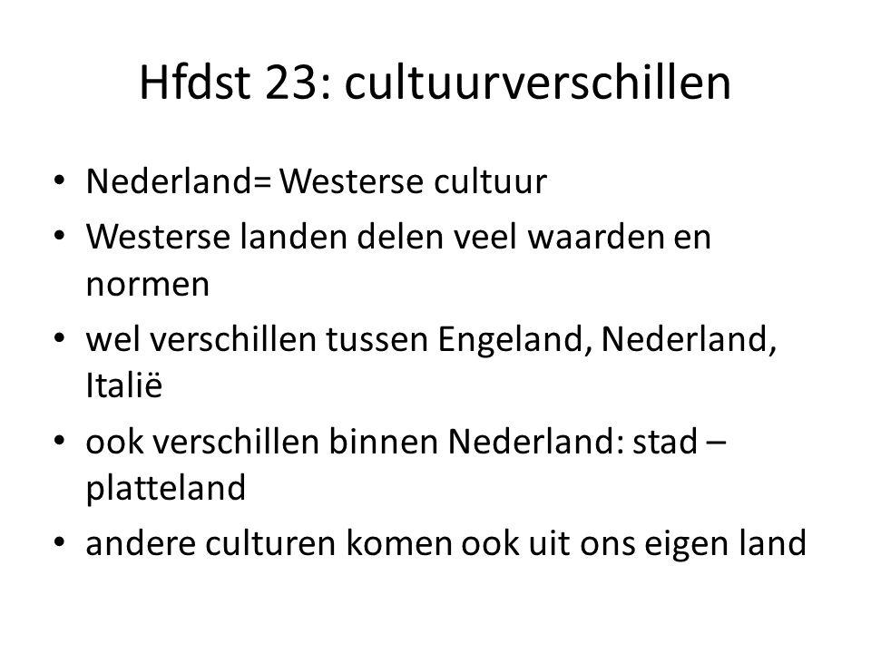 Hfdst 23: cultuurverschillen