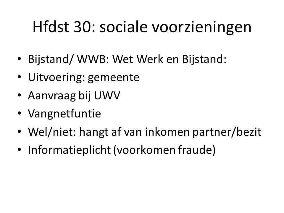 Hfdst 30: sociale voorzieningen