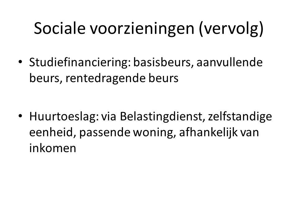 Sociale voorzieningen (vervolg)