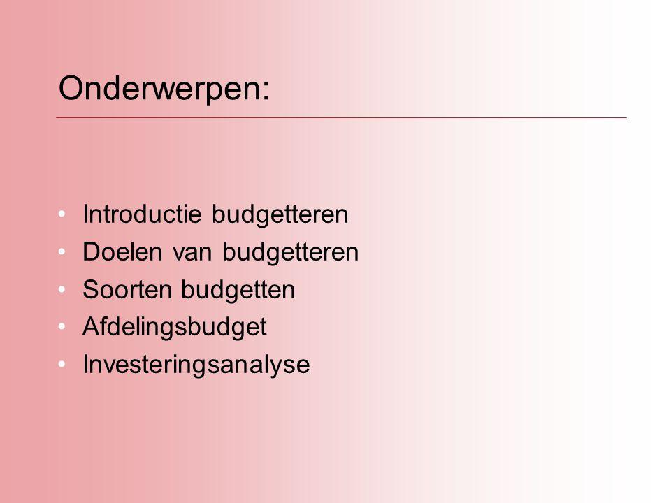 Onderwerpen: Introductie budgetteren Doelen van budgetteren