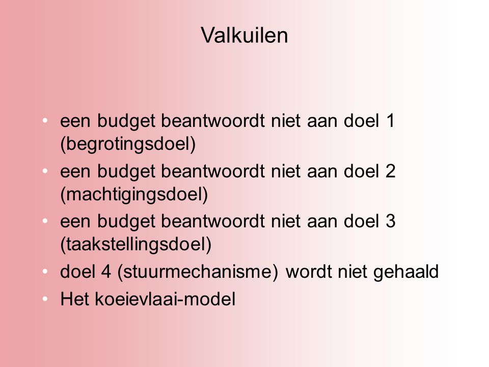 Valkuilen een budget beantwoordt niet aan doel 1 (begrotingsdoel)