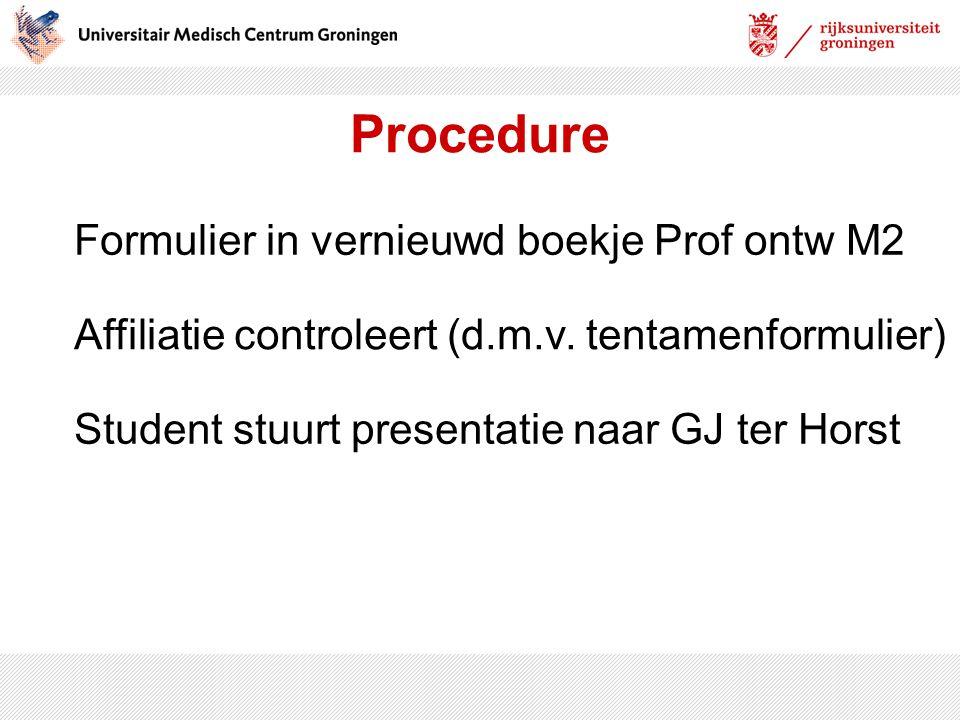 Procedure Formulier in vernieuwd boekje Prof ontw M2