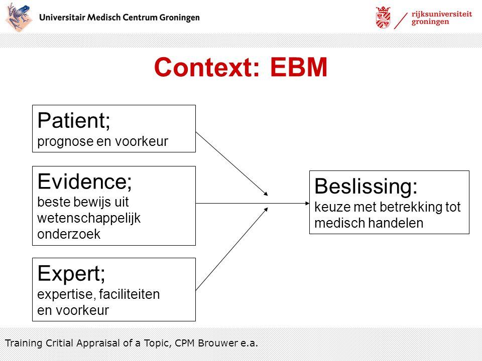 Context: EBM Patient; Evidence; Beslissing: Expert;