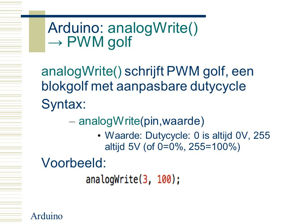 Arduino: analogWrite() → PWM golf