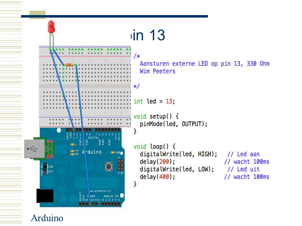 LED op pin 13 Arduino
