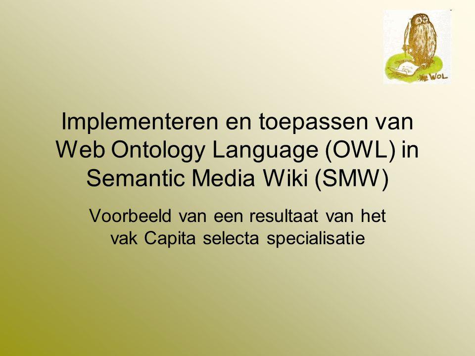 OWL toepassing in Semantic Media Wiki