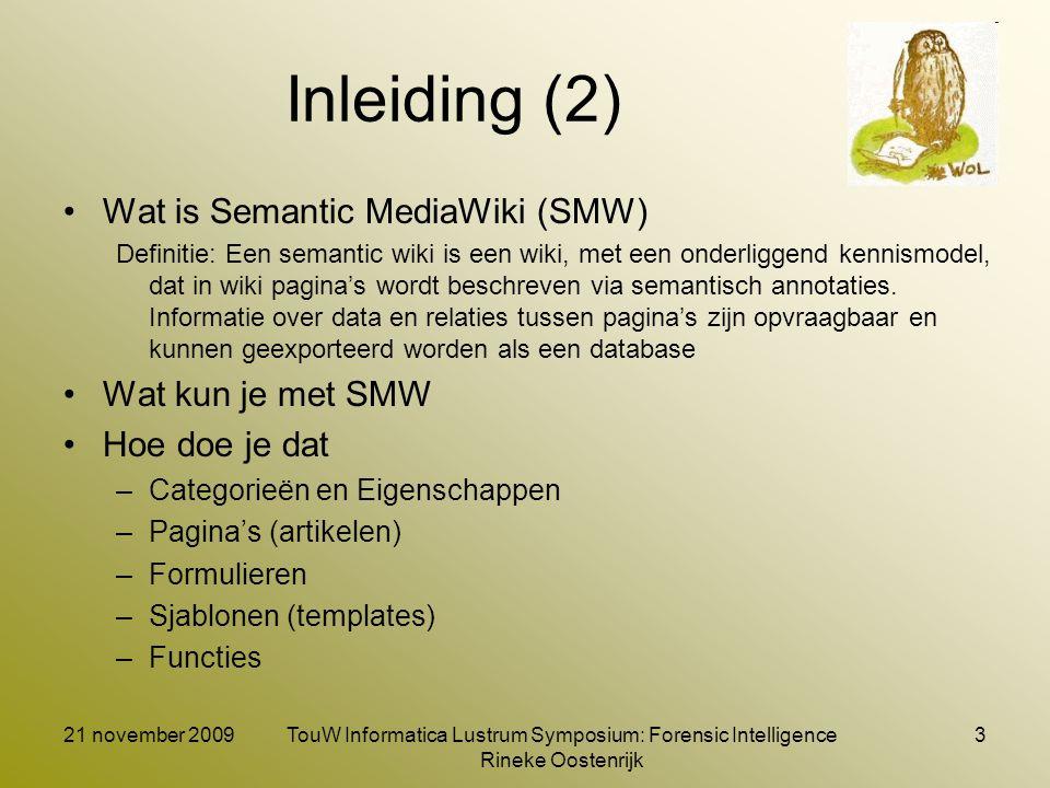 Inleiding (3) Analoge begrippen: Semantic MediaWiki Informatica