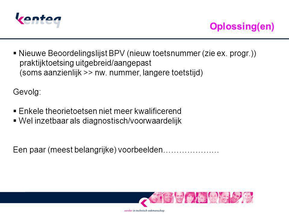 Oplossing(en) Nieuwe Beoordelingslijst BPV (nieuw toetsnummer (zie ex. progr.)) praktijktoetsing uitgebreid/aangepast.