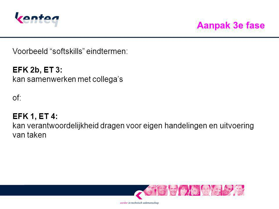 Aanpak 3e fase Voorbeeld softskills eindtermen: EFK 2b, ET 3: