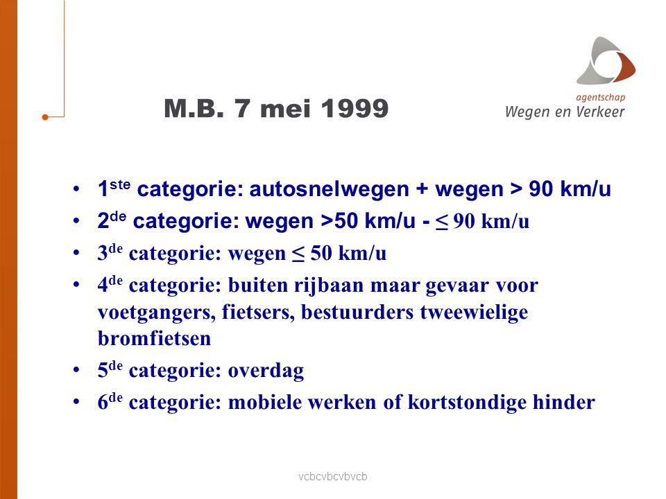 M.B. 7 mei 1999 1ste categorie: autosnelwegen + wegen > 90 km/u