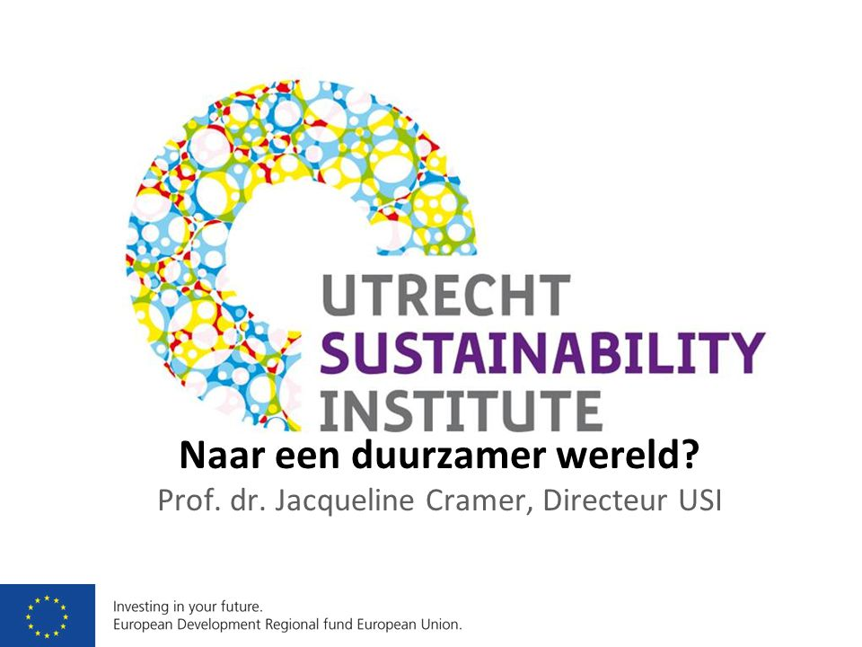 Naar een duurzamer wereld Prof. dr. Jacqueline Cramer, Directeur USI