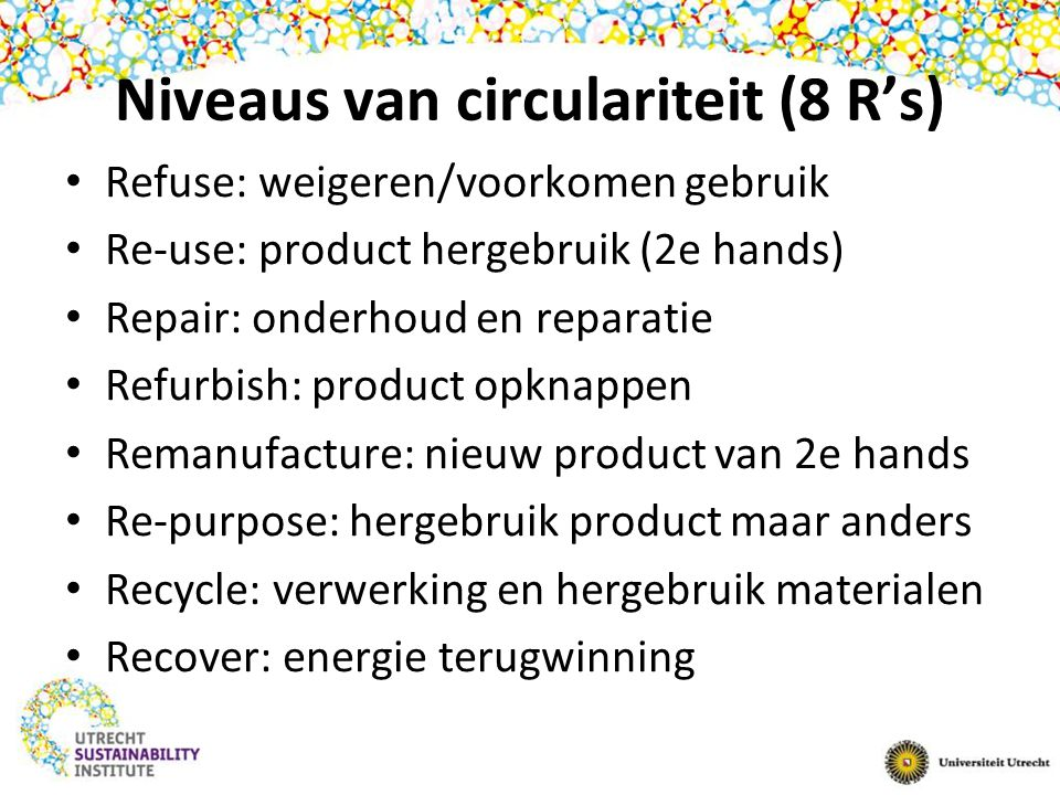 Niveaus van circulariteit (8 R's)