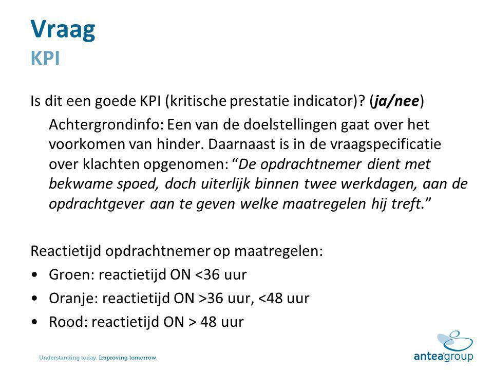Vraag KPI Is dit een goede KPI (kritische prestatie indicator) (ja/nee)