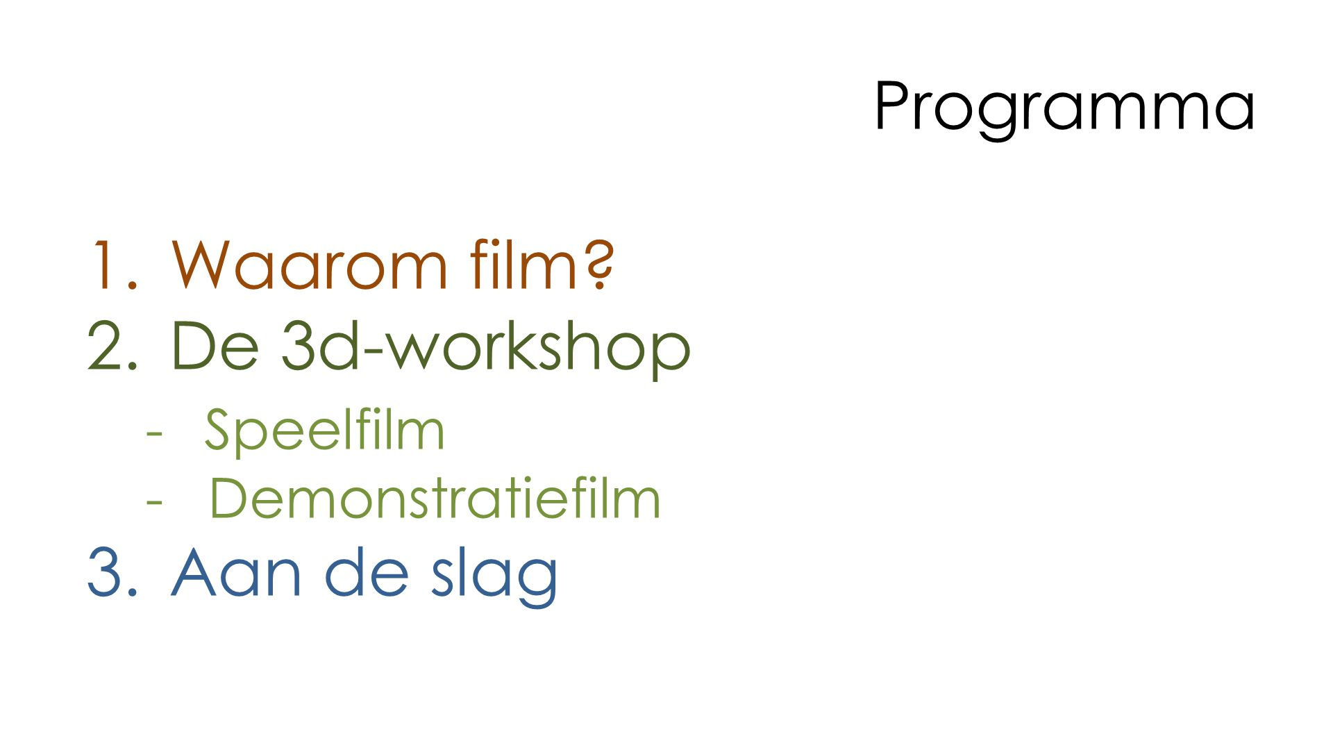 Programma Waarom film De 3d-workshop Aan de slag - Speelfilm