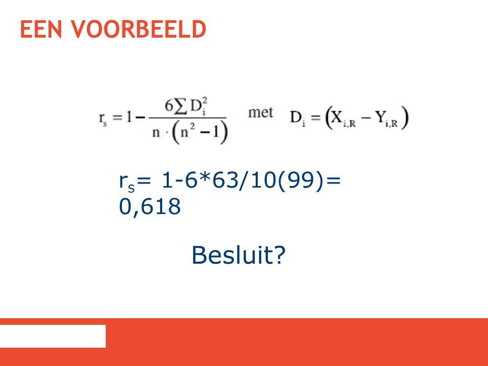 Een voorbeeld rs= 1-6*63/10(99)= 0,618 Besluit