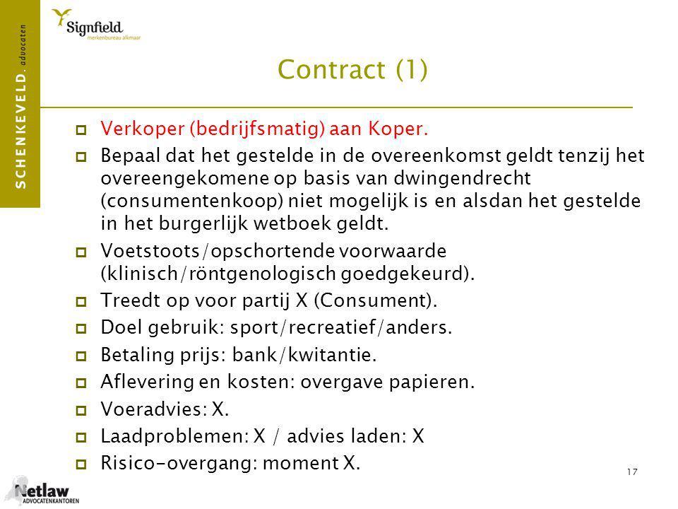 Contract (1) Verkoper (bedrijfsmatig) aan Koper.