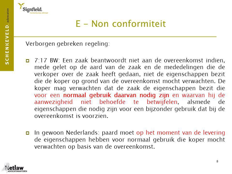 E - Non conformiteit Verborgen gebreken regeling: