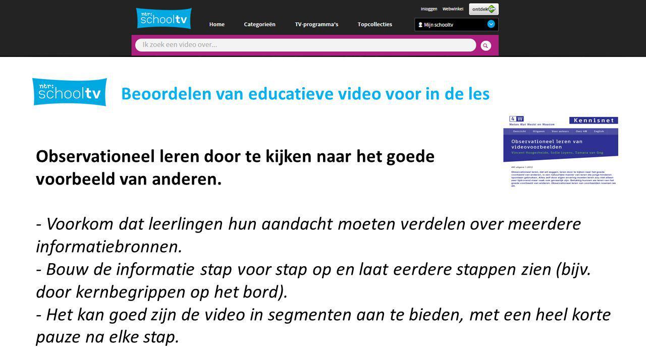 2 Beoordelen van educatieve video voor in de les