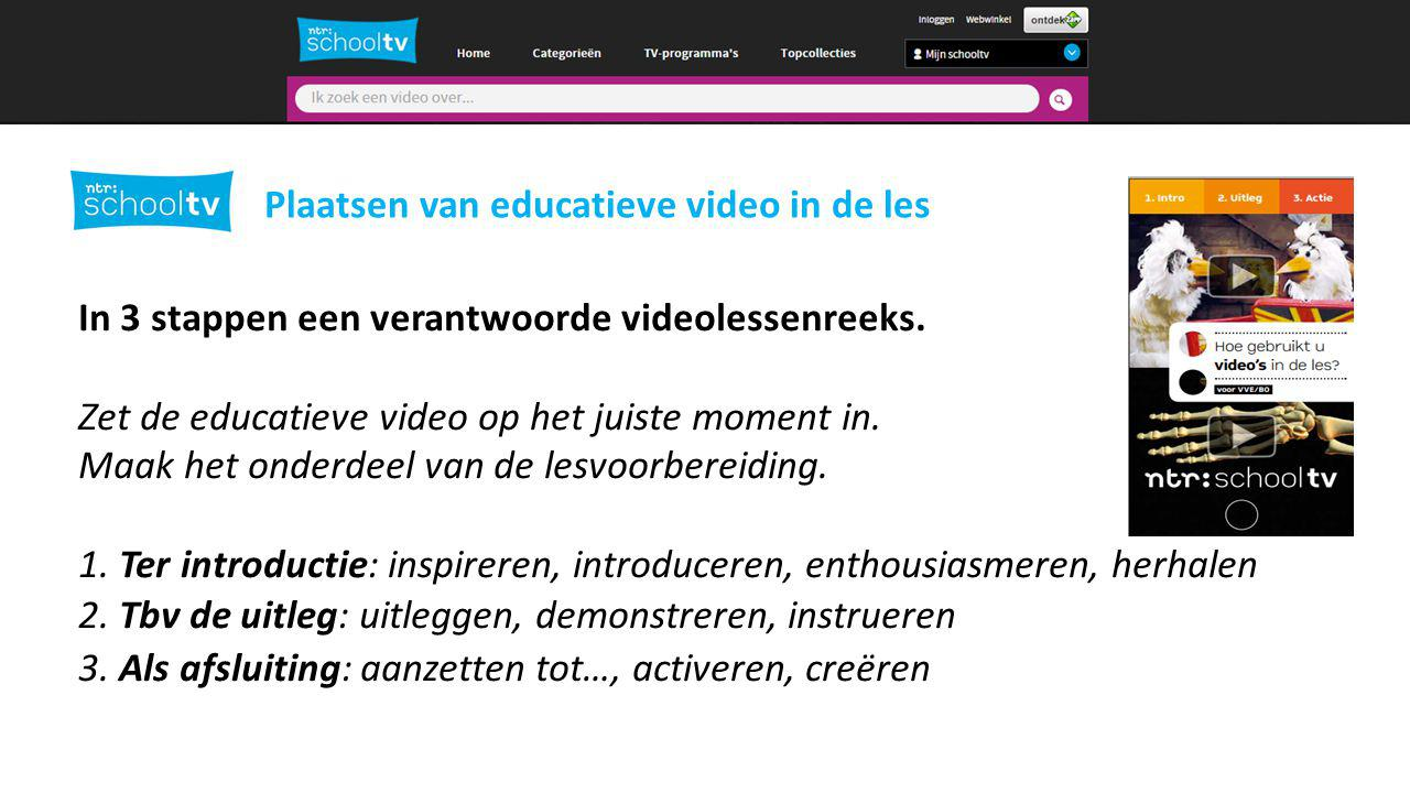 2 Plaatsen van educatieve video in de les