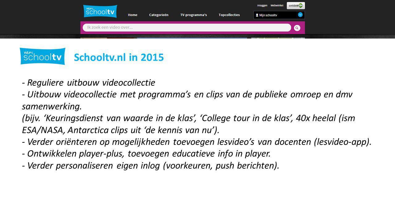 Schooltv.nl in 2015 - Reguliere uitbouw videocollectie
