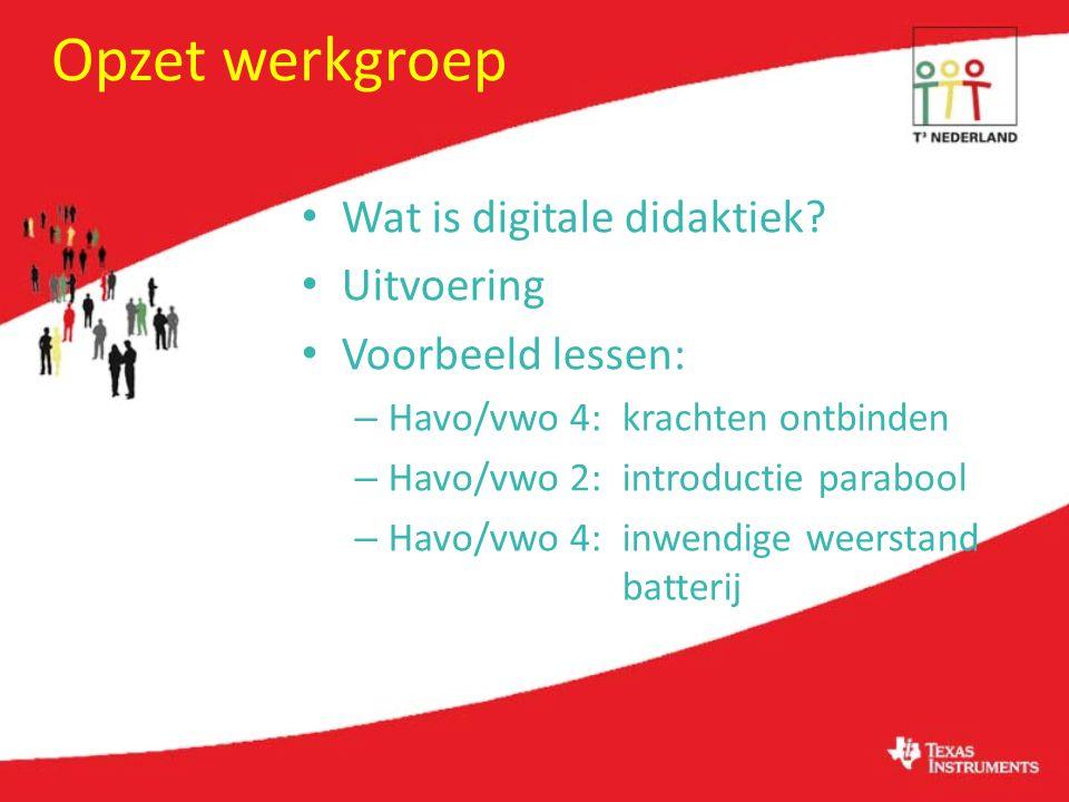 Opzet werkgroep Wat is digitale didaktiek Uitvoering