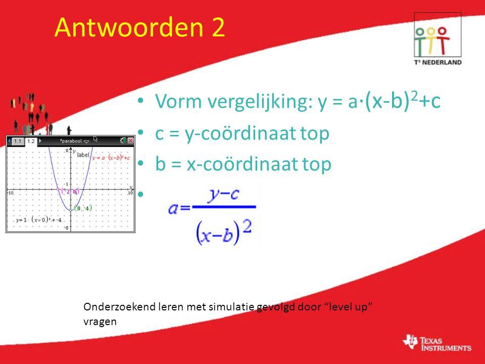 Antwoorden 2 Vorm vergelijking: y = a·(x-b)2+c c = y-coördinaat top