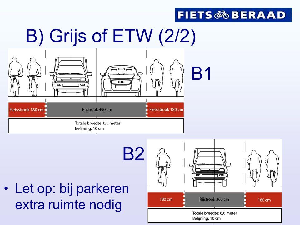 B) Grijs of ETW (2/2) B1 B2 Let op: bij parkeren extra ruimte nodig