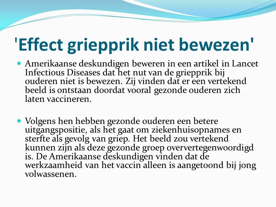 Effect griepprik niet bewezen