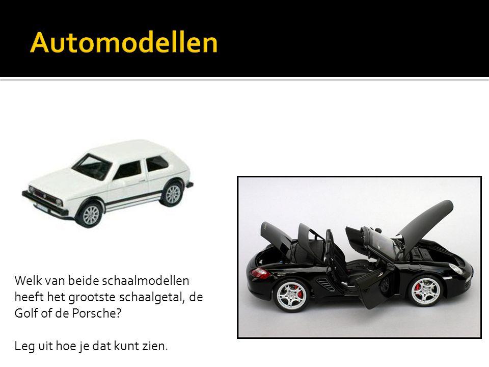 Automodellen Welk van beide schaalmodellen heeft het grootste schaalgetal, de Golf of de Porsche.