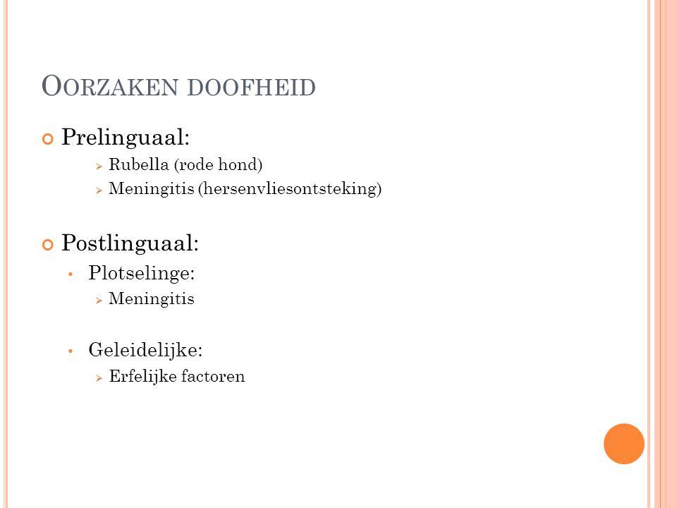 Oorzaken doofheid Prelinguaal: Postlinguaal: Plotselinge: