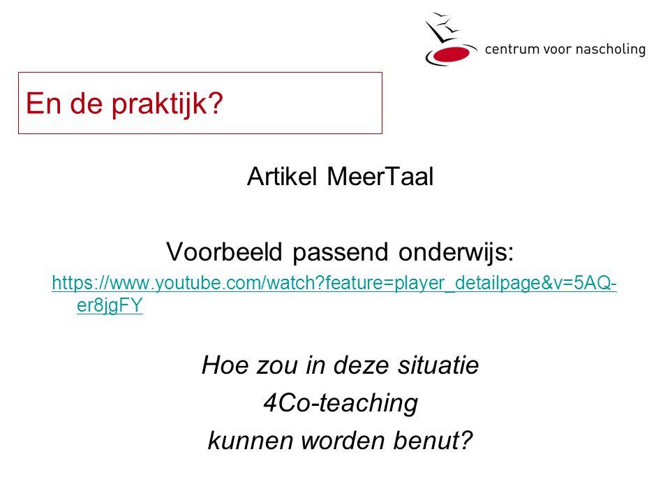 En de praktijk Artikel MeerTaal Voorbeeld passend onderwijs:
