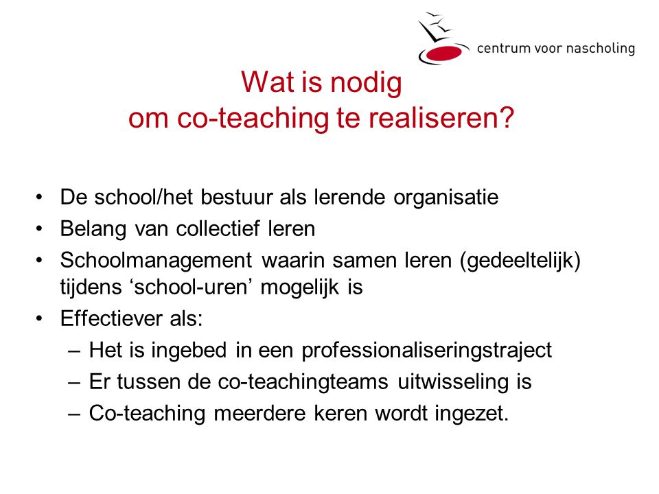 Wat is nodig om co-teaching te realiseren