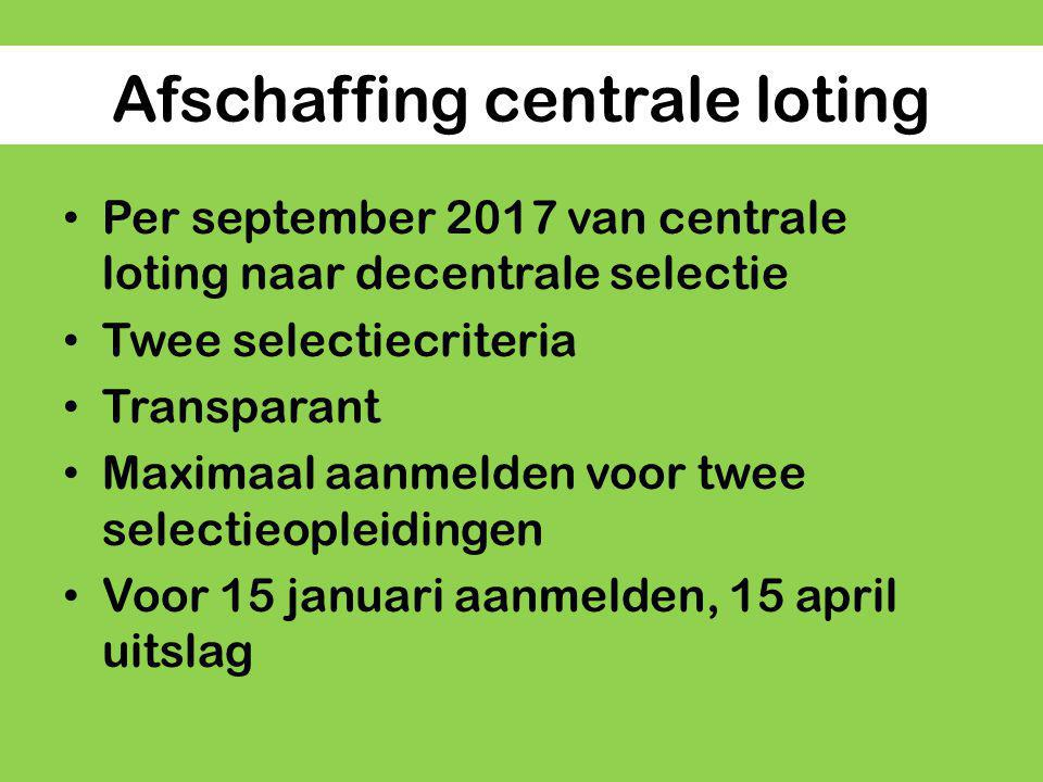 Afschaffing centrale loting