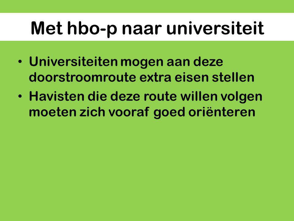 Met hbo-p naar universiteit