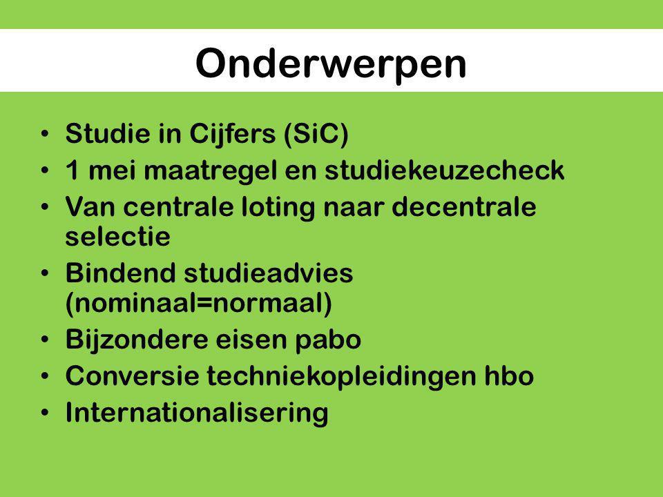 Onderwerpen Studie in Cijfers (SiC)