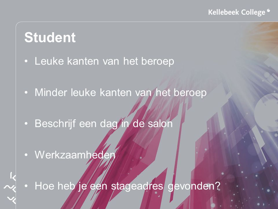 Student Leuke kanten van het beroep Minder leuke kanten van het beroep