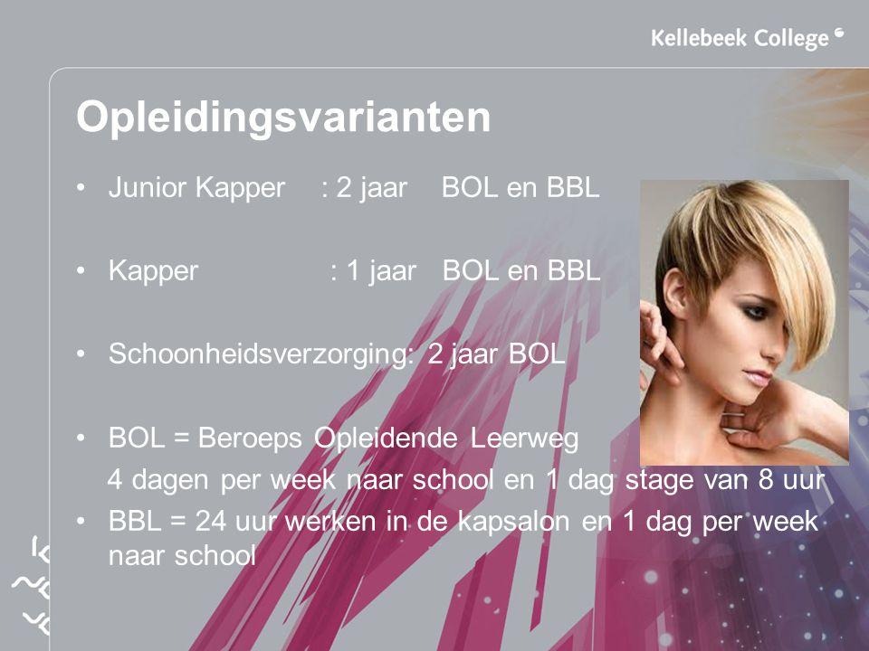 Opleidingsvarianten Junior Kapper : 2 jaar BOL en BBL