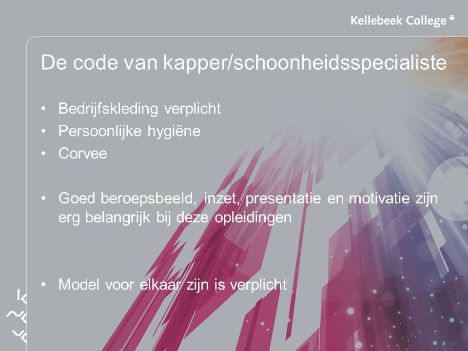 De code van kapper/schoonheidsspecialiste