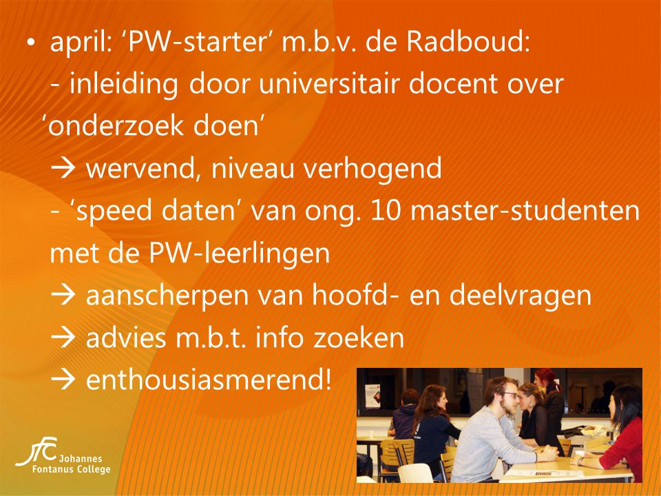 april: 'PW-starter' m.b.v. de Radboud: