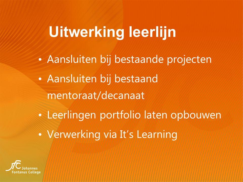 Uitwerking leerlijn Aansluiten bij bestaande projecten