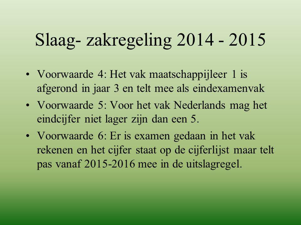 Slaag- zakregeling 2014 - 2015 Voorwaarde 4: Het vak maatschappijleer 1 is afgerond in jaar 3 en telt mee als eindexamenvak.