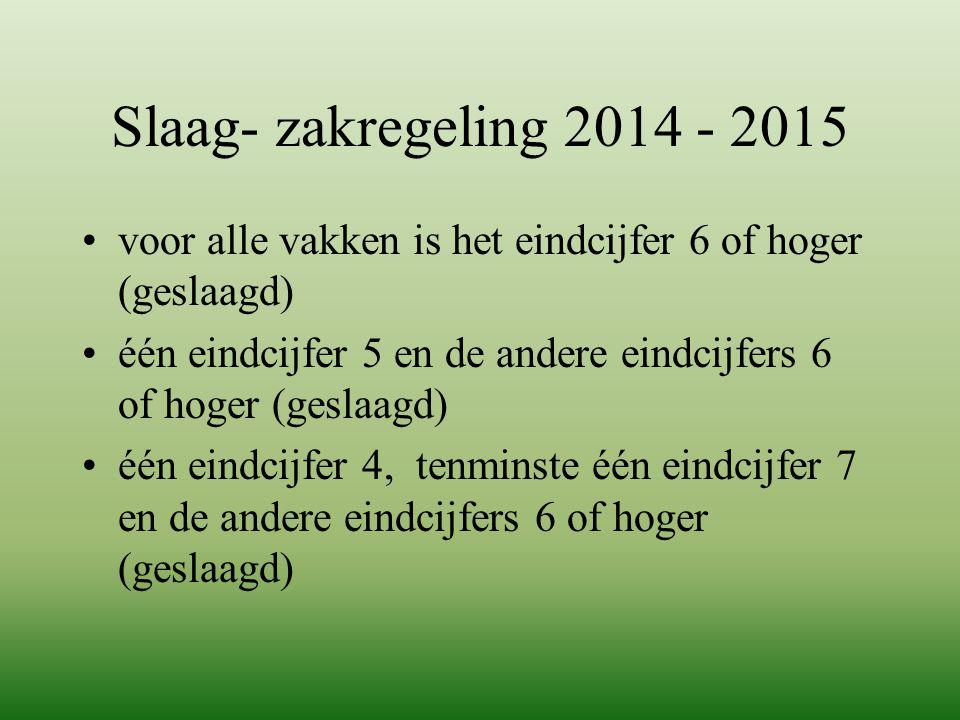 Slaag- zakregeling 2014 - 2015 voor alle vakken is het eindcijfer 6 of hoger (geslaagd)