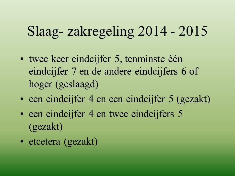 Slaag- zakregeling 2014 - 2015 twee keer eindcijfer 5, tenminste één eindcijfer 7 en de andere eindcijfers 6 of hoger (geslaagd)