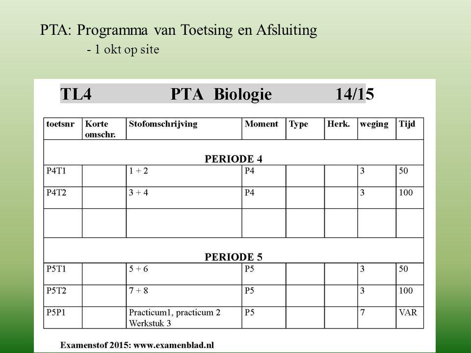 PTA: Programma van Toetsing en Afsluiting
